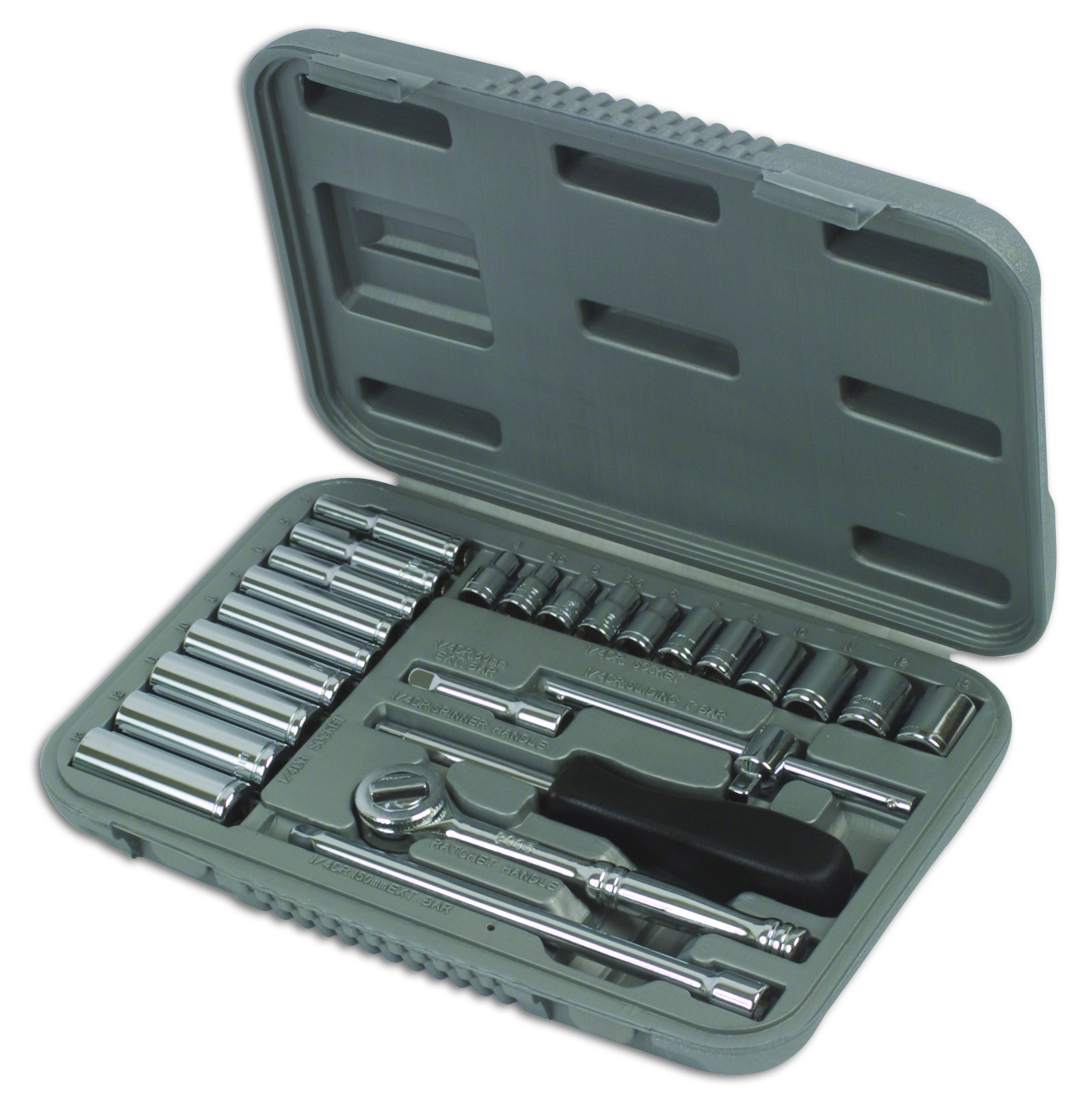 """Socket Set Mm 1/4""""d 25pc 2553 Tool Connection Genuine Top Quality New"""
